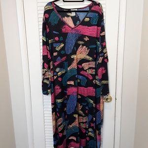 Dee Dees Dress Paint Design V Neck Plus Size 4X